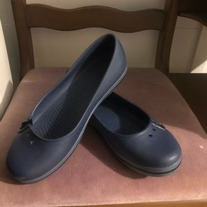 Crocs size 7 blue slip on loafers or flats